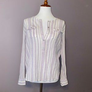 Loft | Light Purple Striped Blouse